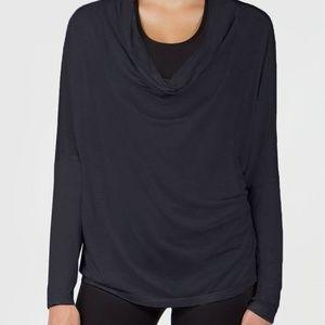NEW MPG Tensile Luxe Drape Neck Top Cashmere Modal